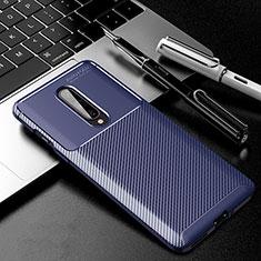 Custodia Silicone Cover Morbida Spigato per OnePlus 8 Blu