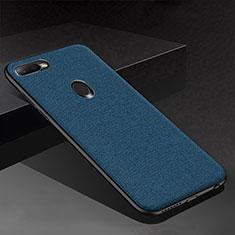Custodia Silicone Cover Morbida Spigato per Oppo A7 Blu