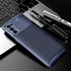 Custodia Silicone Cover Morbida Spigato per Oppo Reno4 4G Blu