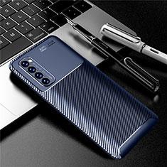 Custodia Silicone Cover Morbida Spigato per Oppo Reno4 Pro 4G Blu