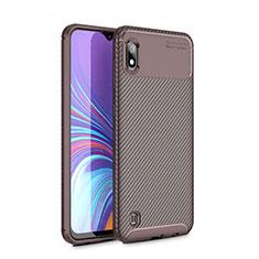 Custodia Silicone Cover Morbida Spigato per Samsung Galaxy A10 Marrone