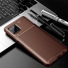 Custodia Silicone Cover Morbida Spigato per Samsung Galaxy A12 Marrone