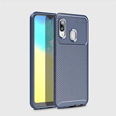 Custodia Silicone Cover Morbida Spigato per Samsung Galaxy A20e Blu
