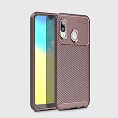 Custodia Silicone Cover Morbida Spigato per Samsung Galaxy A20e Marrone