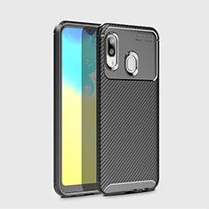 Custodia Silicone Cover Morbida Spigato per Samsung Galaxy A20e Nero