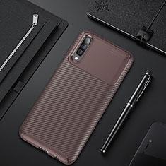 Custodia Silicone Cover Morbida Spigato per Samsung Galaxy A30S Marrone