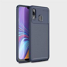 Custodia Silicone Cover Morbida Spigato per Samsung Galaxy A40 Blu