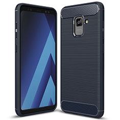 Custodia Silicone Cover Morbida Spigato per Samsung Galaxy A5 (2018) A530F Blu