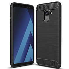 Custodia Silicone Cover Morbida Spigato per Samsung Galaxy A5 (2018) A530F Nero