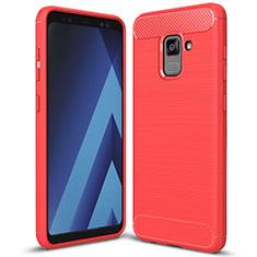 Custodia Silicone Cover Morbida Spigato per Samsung Galaxy A5 (2018) A530F Rosso