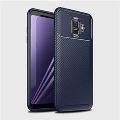 Custodia Silicone Cover Morbida Spigato per Samsung Galaxy A6 (2018) Blu