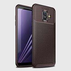 Custodia Silicone Cover Morbida Spigato per Samsung Galaxy A6 (2018) Dual SIM Marrone