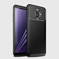 Custodia Silicone Cover Morbida Spigato per Samsung Galaxy A6 (2018) Nero