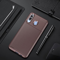 Custodia Silicone Cover Morbida Spigato per Samsung Galaxy A60 Marrone