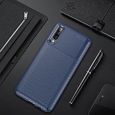 Custodia Silicone Cover Morbida Spigato per Samsung Galaxy A70 Blu