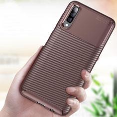 Custodia Silicone Cover Morbida Spigato per Samsung Galaxy A70 Marrone