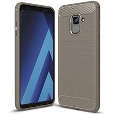 Custodia Silicone Cover Morbida Spigato per Samsung Galaxy A8+ A8 Plus (2018) Duos A730F Grigio
