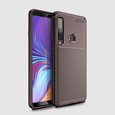 Custodia Silicone Cover Morbida Spigato per Samsung Galaxy A9s Marrone