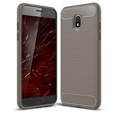 Custodia Silicone Cover Morbida Spigato per Samsung Galaxy Amp Prime 3 Grigio