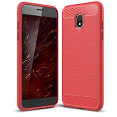 Custodia Silicone Cover Morbida Spigato per Samsung Galaxy Amp Prime 3 Rosso