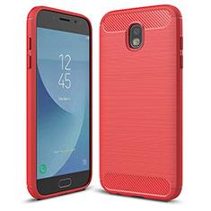 Custodia Silicone Cover Morbida Spigato per Samsung Galaxy J5 (2017) SM-J750F Rosso