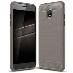 Custodia Silicone Cover Morbida Spigato per Samsung Galaxy J7 (2018) J737 Grigio