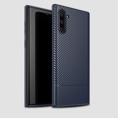 Custodia Silicone Cover Morbida Spigato per Samsung Galaxy Note 10 5G Blu