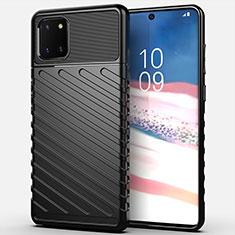 Custodia Silicone Cover Morbida Spigato per Samsung Galaxy Note 10 Lite Nero