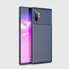 Custodia Silicone Cover Morbida Spigato per Samsung Galaxy Note 10 Plus Blu