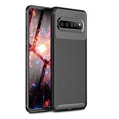 Custodia Silicone Cover Morbida Spigato per Samsung Galaxy S10 5G SM-G977B Nero