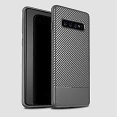 Custodia Silicone Cover Morbida Spigato per Samsung Galaxy S10 Plus Grigio