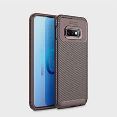 Custodia Silicone Cover Morbida Spigato per Samsung Galaxy S10e Marrone