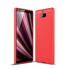 Custodia Silicone Cover Morbida Spigato per Sony Xperia 10 Plus Rosso