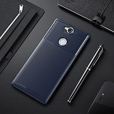Custodia Silicone Cover Morbida Spigato per Sony Xperia XA2 Plus Blu