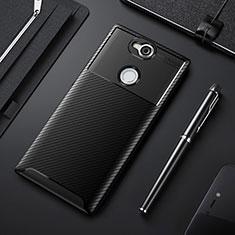 Custodia Silicone Cover Morbida Spigato per Sony Xperia XA2 Plus Nero