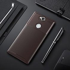 Custodia Silicone Cover Morbida Spigato per Sony Xperia XA2 Ultra Marrone