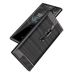Custodia Silicone Cover Morbida Spigato per Sony Xperia XZ2 Premium Nero