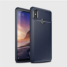 Custodia Silicone Cover Morbida Spigato per Xiaomi Mi Max 3 Blu