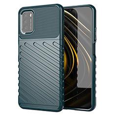 Custodia Silicone Cover Morbida Spigato per Xiaomi Poco M3 Verde Notte
