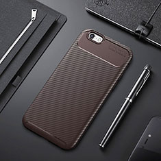 Custodia Silicone Cover Morbida Spigato S01 per Apple iPhone 6S Plus Marrone