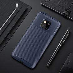 Custodia Silicone Cover Morbida Spigato S01 per Huawei Mate 20 Pro Blu