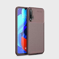 Custodia Silicone Cover Morbida Spigato S01 per Huawei Nova 5 Pro Marrone