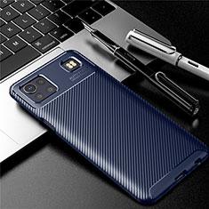 Custodia Silicone Cover Morbida Spigato S01 per LG K92 5G Blu