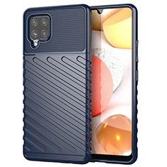 Custodia Silicone Cover Morbida Spigato S01 per Samsung Galaxy A42 5G Blu