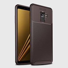 Custodia Silicone Cover Morbida Spigato S01 per Samsung Galaxy A8+ A8 Plus (2018) Duos A730F Marrone