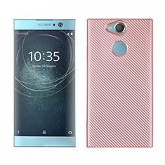 Custodia Silicone Cover Morbida Spigato S01 per Sony Xperia XA2 Plus Oro Rosa