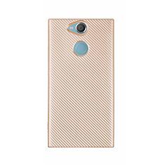 Custodia Silicone Cover Morbida Spigato S01 per Sony Xperia XA2 Ultra Oro