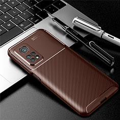 Custodia Silicone Cover Morbida Spigato S01 per Xiaomi Mi 10T Pro 5G Marrone