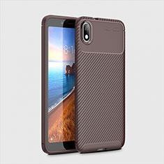Custodia Silicone Cover Morbida Spigato S01 per Xiaomi Redmi 7A Marrone