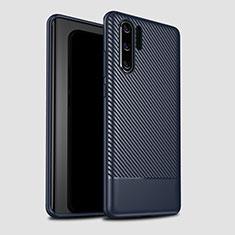 Custodia Silicone Cover Morbida Spigato S04 per Huawei P30 Pro Blu